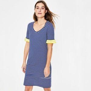 Boden Blue and White Ruffle Sleeve T Shirt Dress